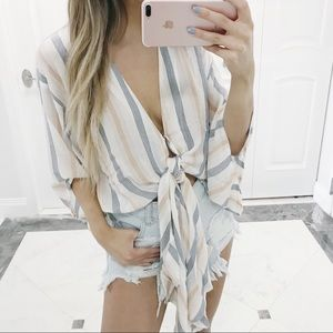 • Crystal Striped Tie Top •